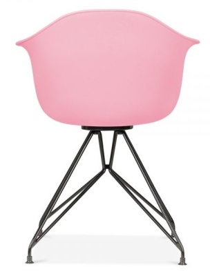 Memot Chair With A Pink Frame And Black Shell Rear View