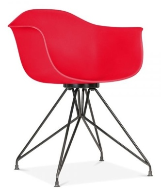 Memot Chair With A Red Shell And Black Frame Front Angle