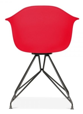 Memot Chair With A Red Shell And Black Frame Rear View