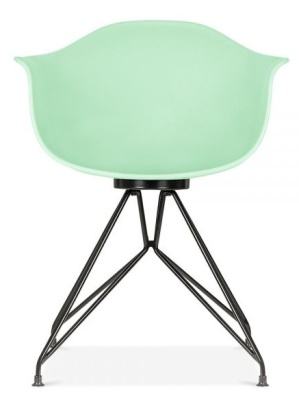 Memot Chair With A Pastel Green Shell And Black Frme Front View
