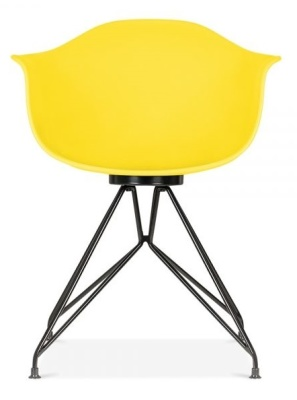 Memot Chair With A Yellow Shell And Black Frame From Rear