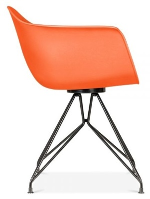 Memot Chair With An Orange Shell And Black Frame Side View