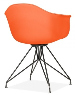 Memot Chair With An Orange Shell And Black Frame Rear Angle