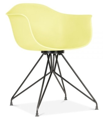 Memot Chair Wit5h A Lemon Chair And Black Frame Front Angle