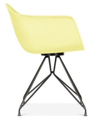 Memot Chair With A Lemon Shell And Black Frame Side View
