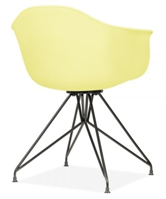 Memot Chair With A Lemon Shell And Black Frame Rear Angle