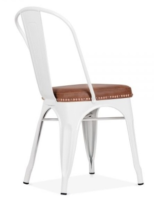 Xavier Pauichard Chair In White With A Brown Leather Seat