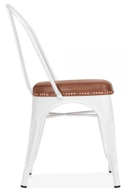 Xavier Pauchard Side Chair In White With A Brown Leather Seat Side View