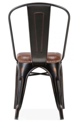 Xavier Pauchard Chair With A Brown Leather Seat Reaer View Distressed Copper