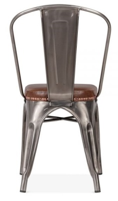 Xavier Pauchard Side Chair In Gun Metal With A Brown Leather Seat