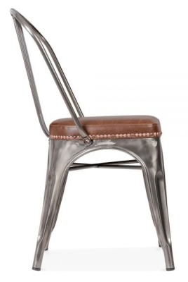 Xavier Pauchard Chair In Gun Metal With A Leather Seat Side View