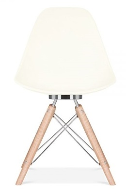 Antona Designer Chair With An Off White Shell Front View