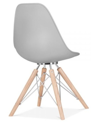 Acona Designer Chair With A Grey Shell Rear Angle