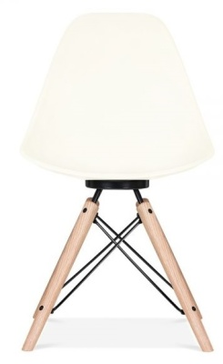 Antona Chair Off White With A Black Frame Front Shot