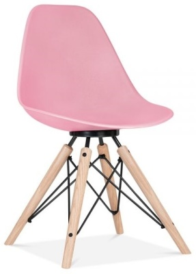 Acona Chair In Pink With A Black Franme Front Angle