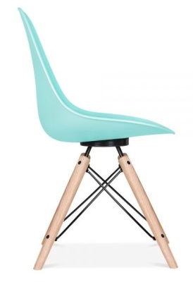 Antona Chair In Pastel Blue And Black Frame Side View