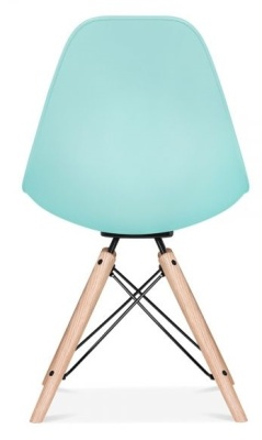 Antona Chair In Pastel Blue And Black Frame Frear View