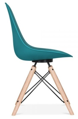 Antona Chair In Teal With A Black Frame Side View