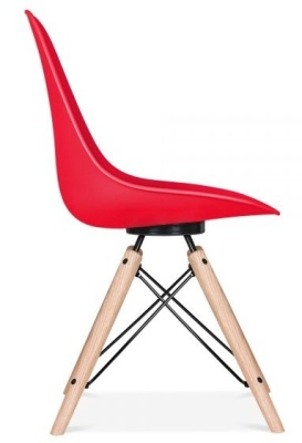 Antona Chair In Red With A Black Frame Side View