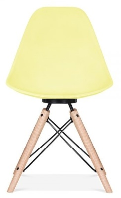 Antona Chair In Lemon With A Black Frame Front View
