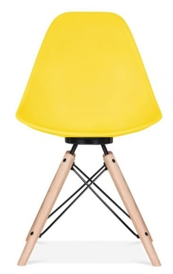 Antona Chair In Yellow With A Bklack Frame Front