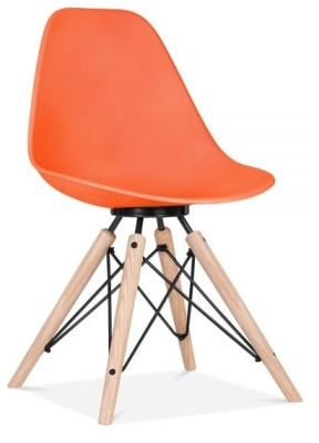 Antona Chair In Orange Wit A Black Frame Front Angle