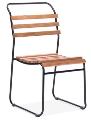 Bahaus Slat Chair Black Frame Front Angle