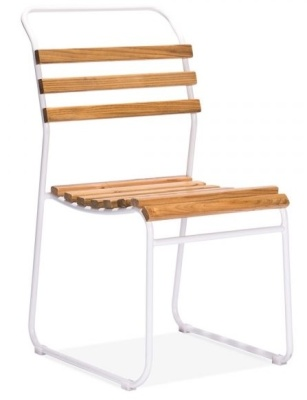 Bauhaus Slat Chair White Frame