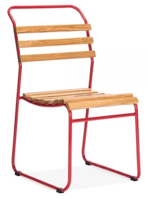 Bauhaus Slat Chair With A Red Frame Front Angle