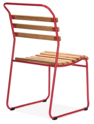 Bauhaus Slat Chair With A Red Frame Rear Angle Shot