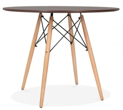 Eames Dsw Round Table With A Walnut Top And Beech Legs
