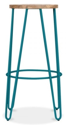 Hairpin Stool With A Teal Frame 2