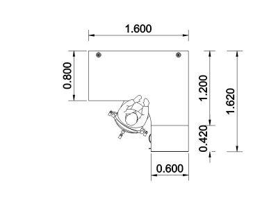 Flite Right Hand Corner Desk Bundle Dimensions