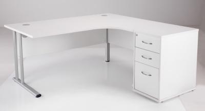 Flite Right Hand Corner Desk Bundle In White