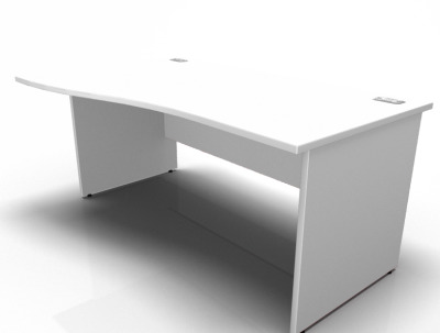 Stellar Left Hans Wave Desk With A Panel End In White