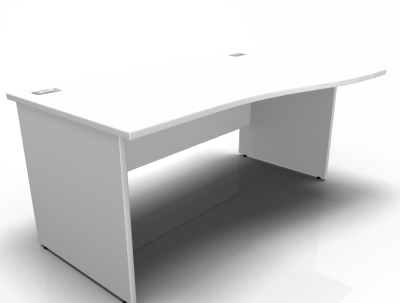 Stellar Right Hand Wave Desk With A Panel End In White