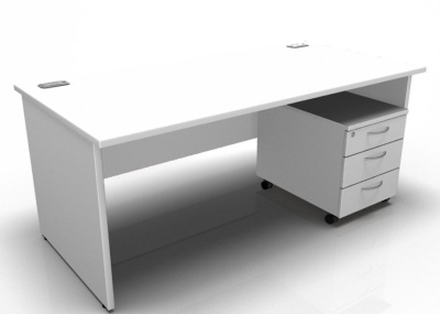 Stellar Panel Side Desk And Pedestal In White