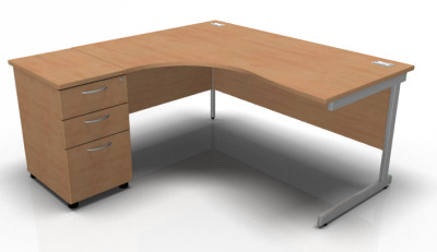 Stella Left Hand Ciorner Desk And Pedestal In Beech