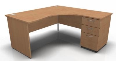 Stellar Rigt Hand Corner Panel Desk And Pedstal In Beech