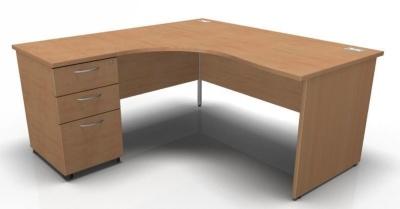 Stellar Left Hand Corner Panel Desk And Pedstal In Beech