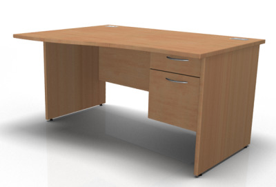 1600 Wave Desk Panel End Lh Fixed Pedestal In Beech