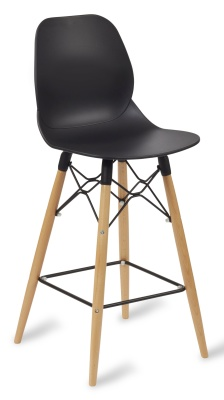 Mackie High Stool With A Black Shell And Beech Legs