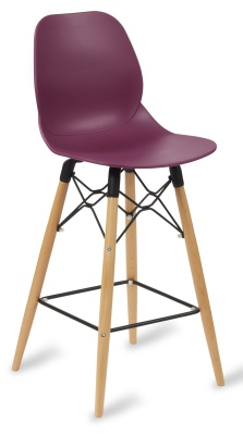 Mackie High Stool With A Plum Coloured Seat And Beech Legs
