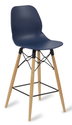 Mackie High Stool Withy A Navy Blue Seat