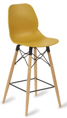 Mackie High Stool With A Mustard Seat