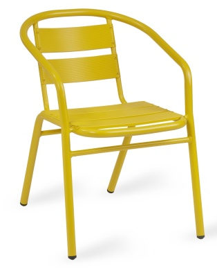 Pandora Outdoor Aluminium Arm Chair In Yellow