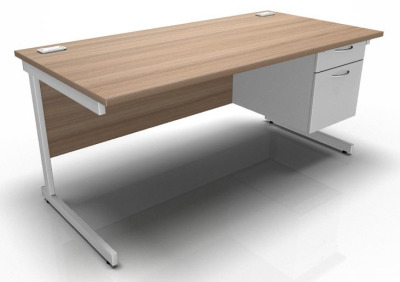 Stellar Rectangular Desk With Fixed Pedestal Cantilever