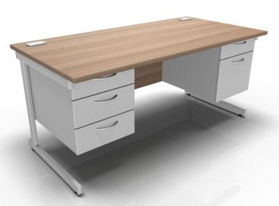 Stellar Rectangular Desk With 2 Fixed Pedestals Cantilever