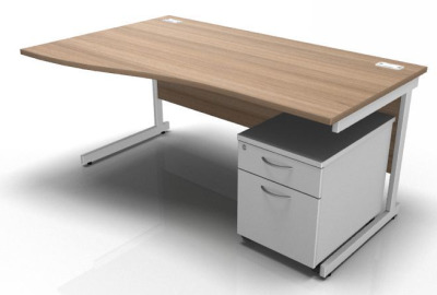 Stellar Left Hand Wave Desk With Mobile Pedestal Birch