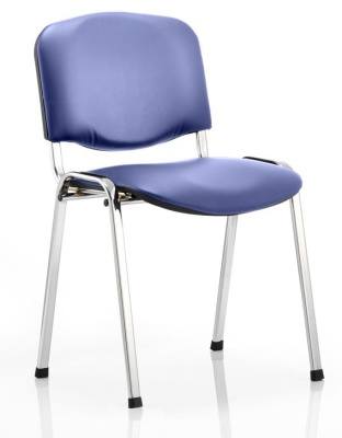 Stakka Chair In Blue Vinyl Upholstery With A Chrome Frame